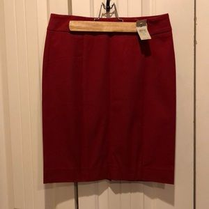Structured red, pencil skirt